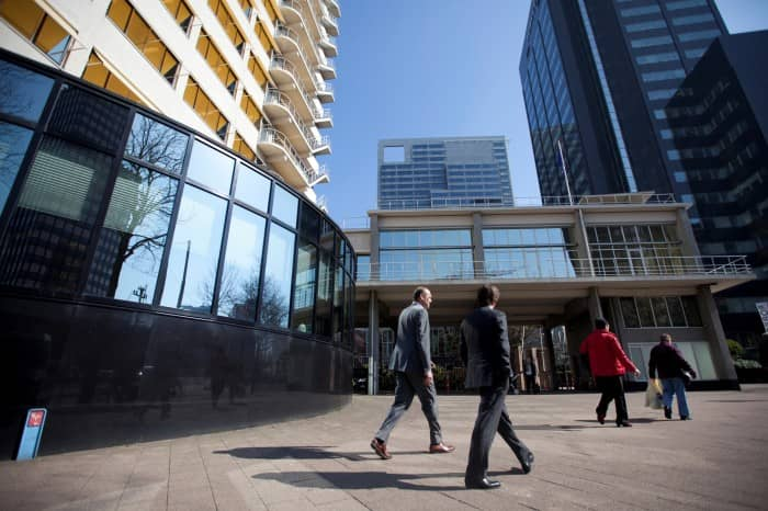 Business professionals in Rotterdam's financial district, Netherlands