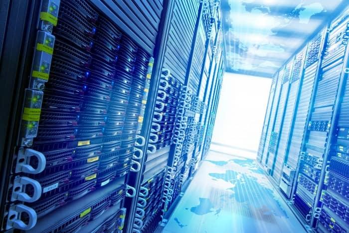 Conceptual Web service station with data server racks.
